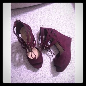 Maroon Guess Wedges